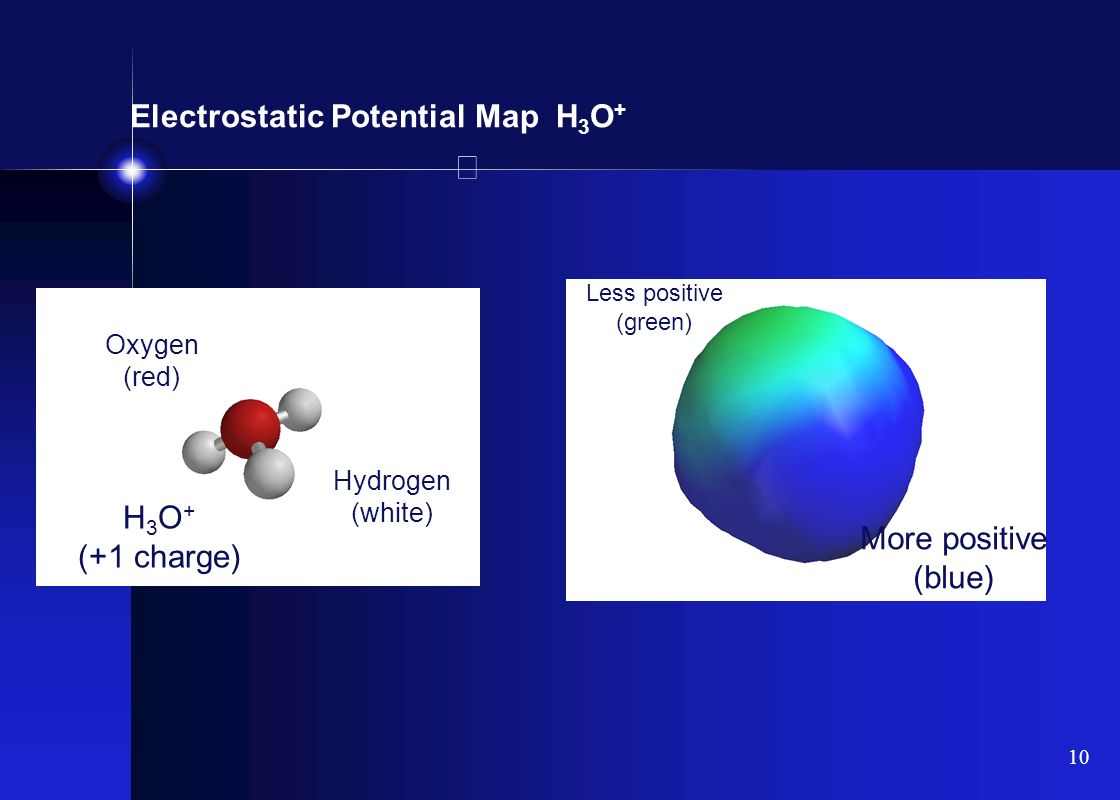 Electrostatic Potential Map H3O+