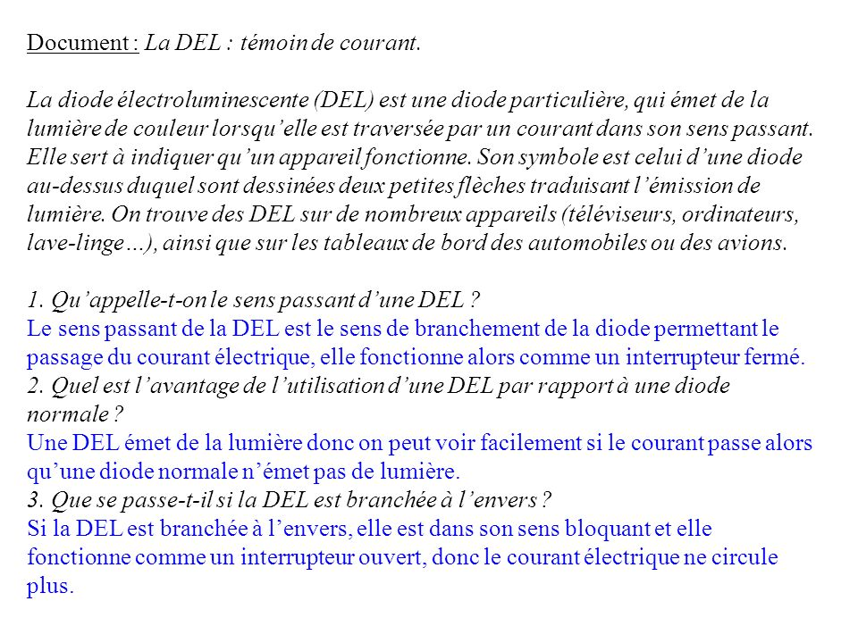 Document : La DEL : témoin de courant.