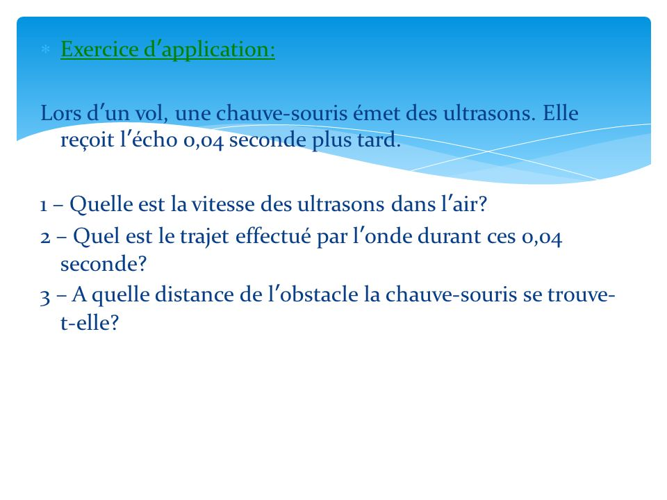 Exercice d'application: