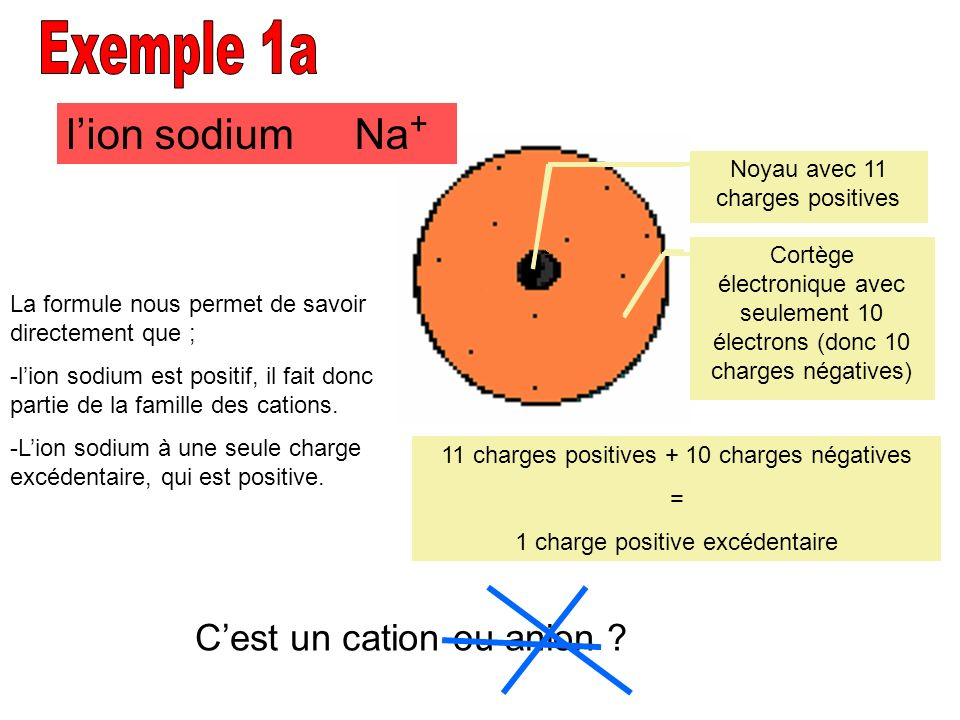 Exemple 1a l'ion sodium Na+ C'est un cation ou anion