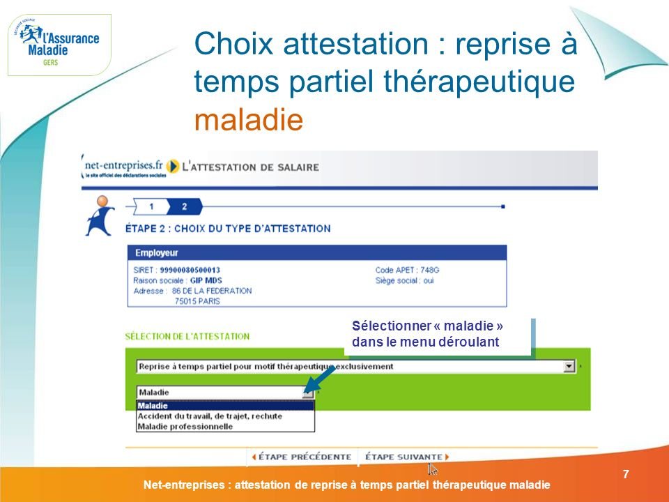 Attestation De Reprise A Temps Partiel Therapeutique Maladie Ppt