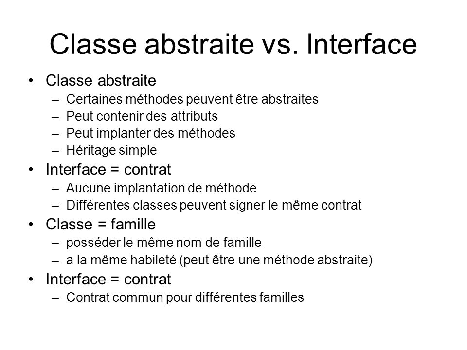 Classe abstraite vs. Interface