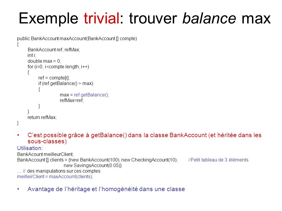 Exemple trivial: trouver balance max