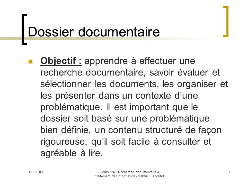 Dossier documentaire