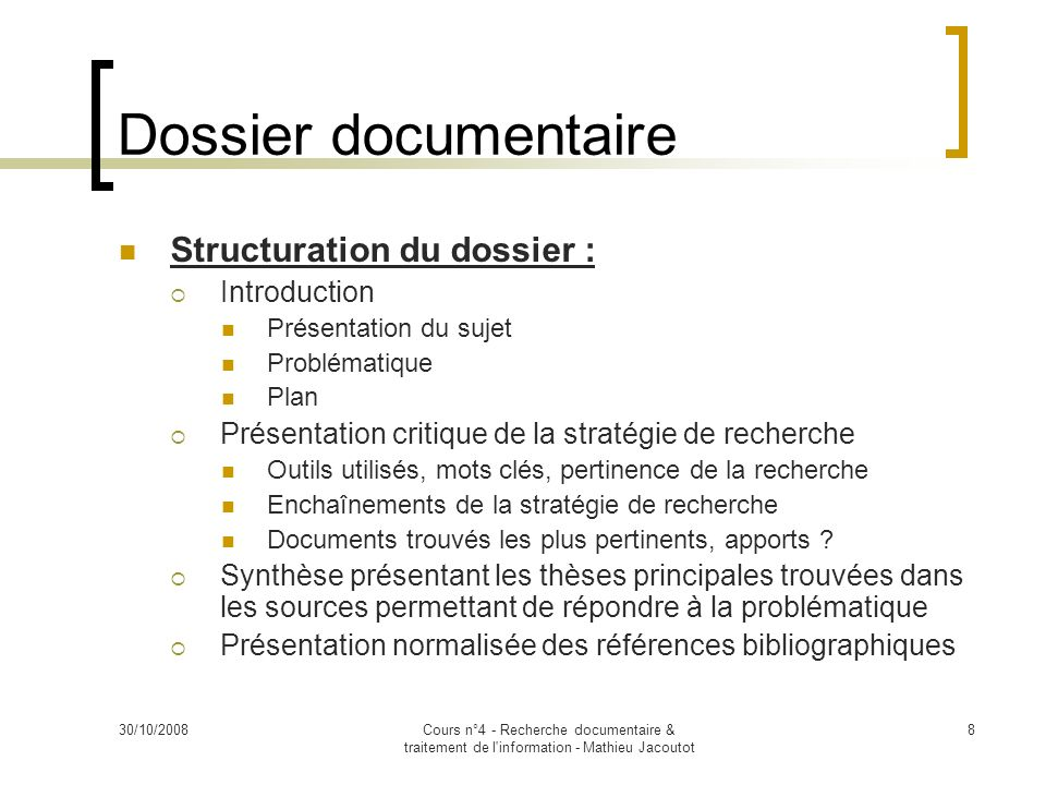 Dossier documentaire Structuration du dossier : Introduction
