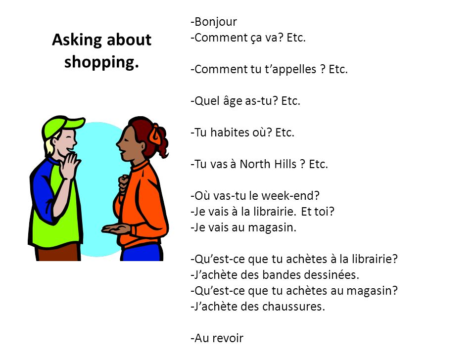 Asking about shopping. -Bonjour -Comment ça va Etc.