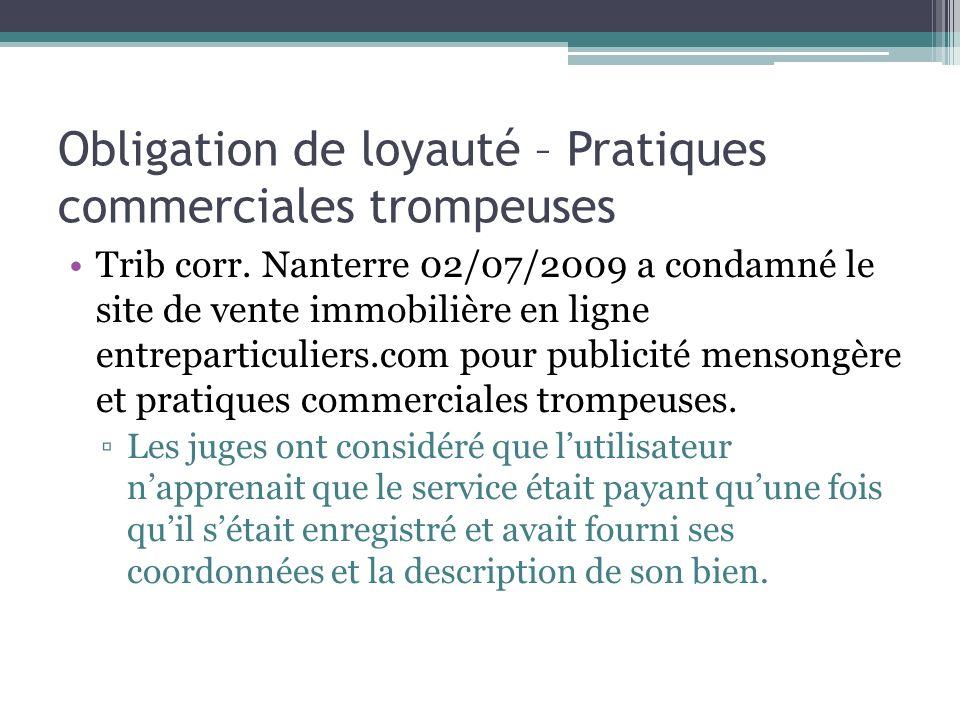 Obligation de loyauté – Pratiques commerciales trompeuses 54cbc3a1d0f3