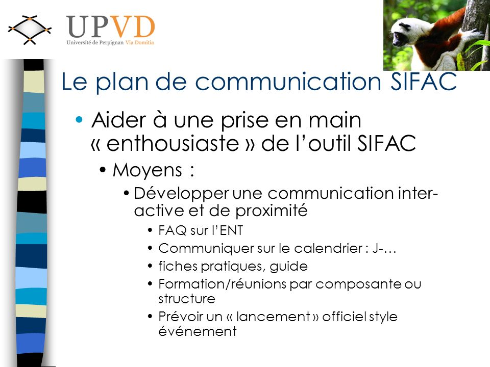 Le plan de communication SIFAC