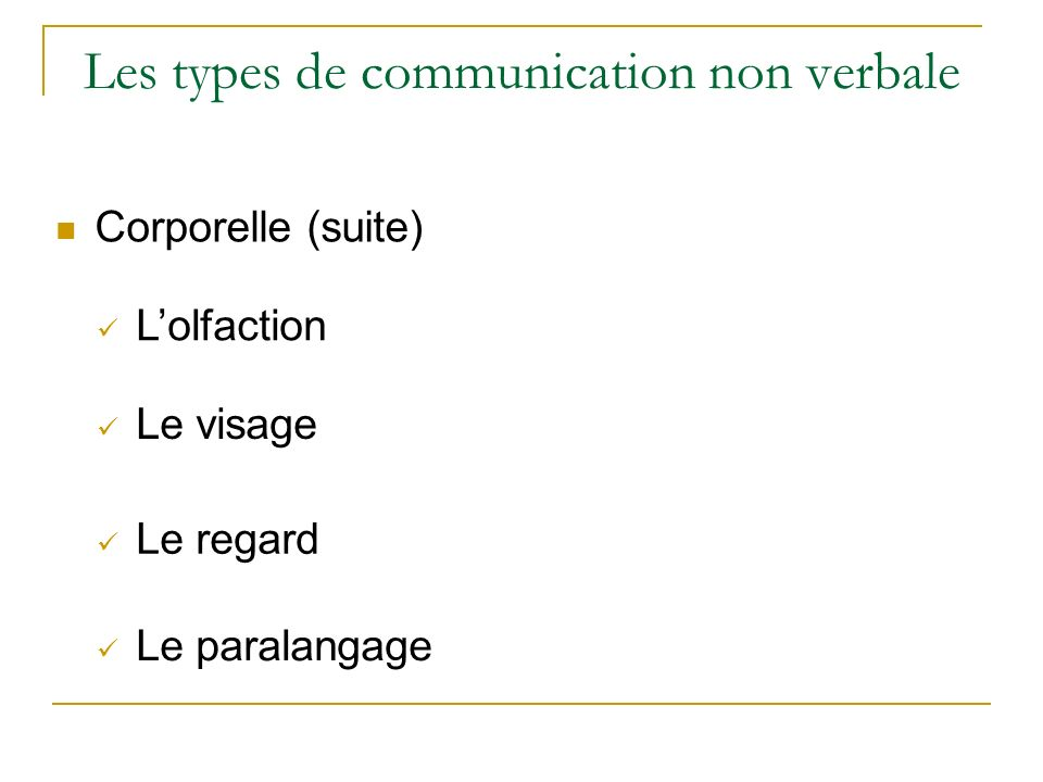 Les types de communication non verbale