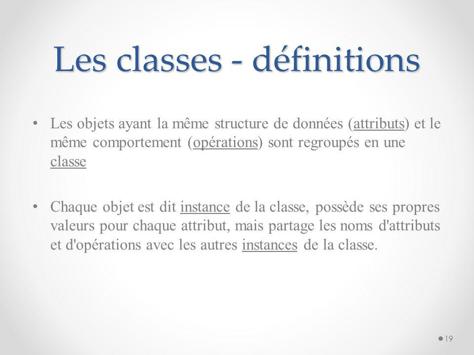 Les classes - définitions