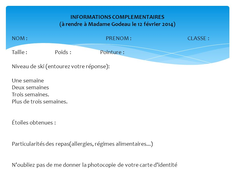 INFORMATIONS COMPLEMENTAIRES