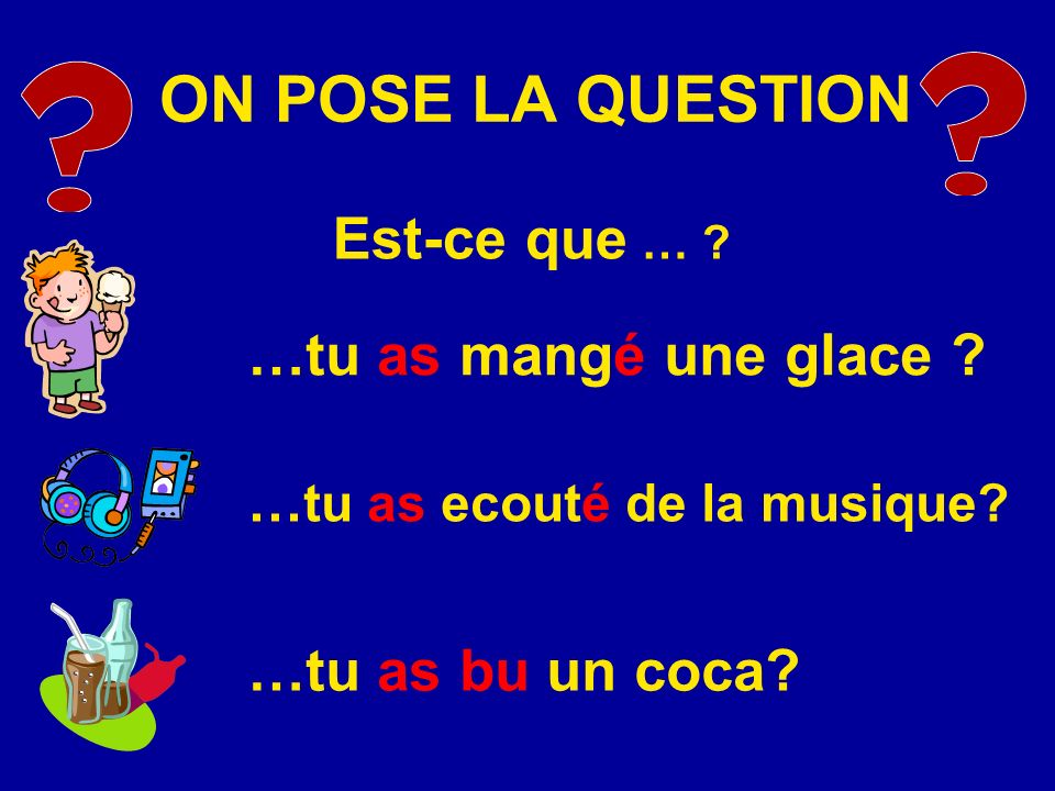ON POSE LA QUESTION Est-ce que … …tu as mangé une glace