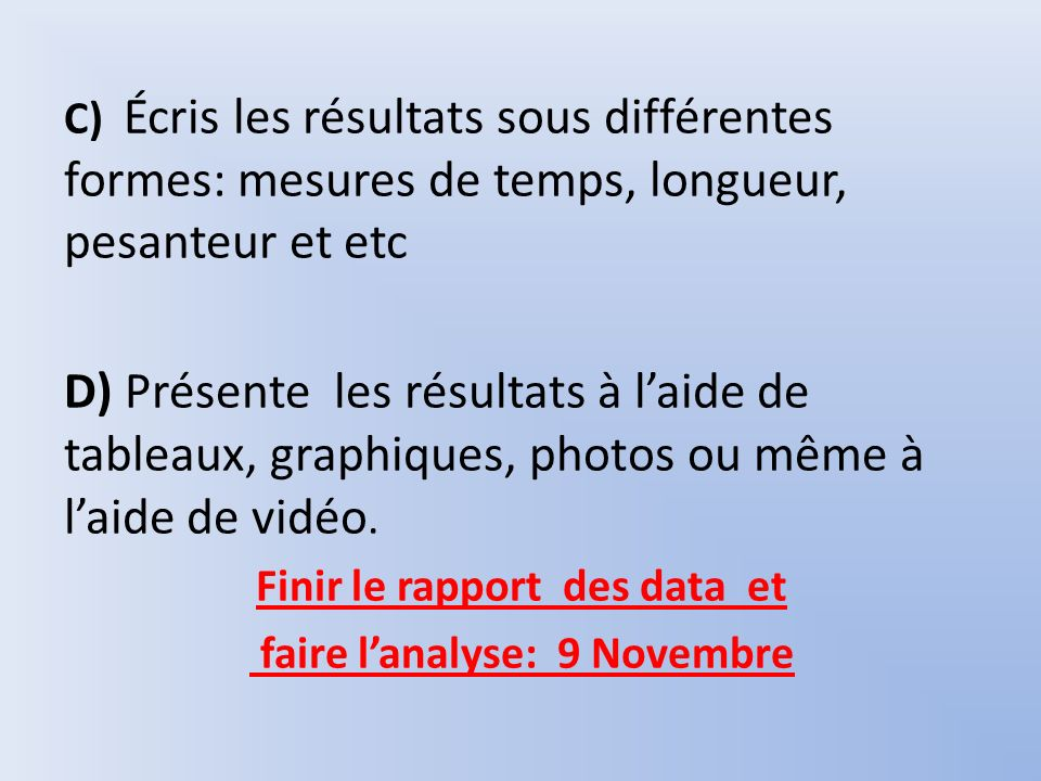 Finir le rapport des data et faire l'analyse: 9 Novembre