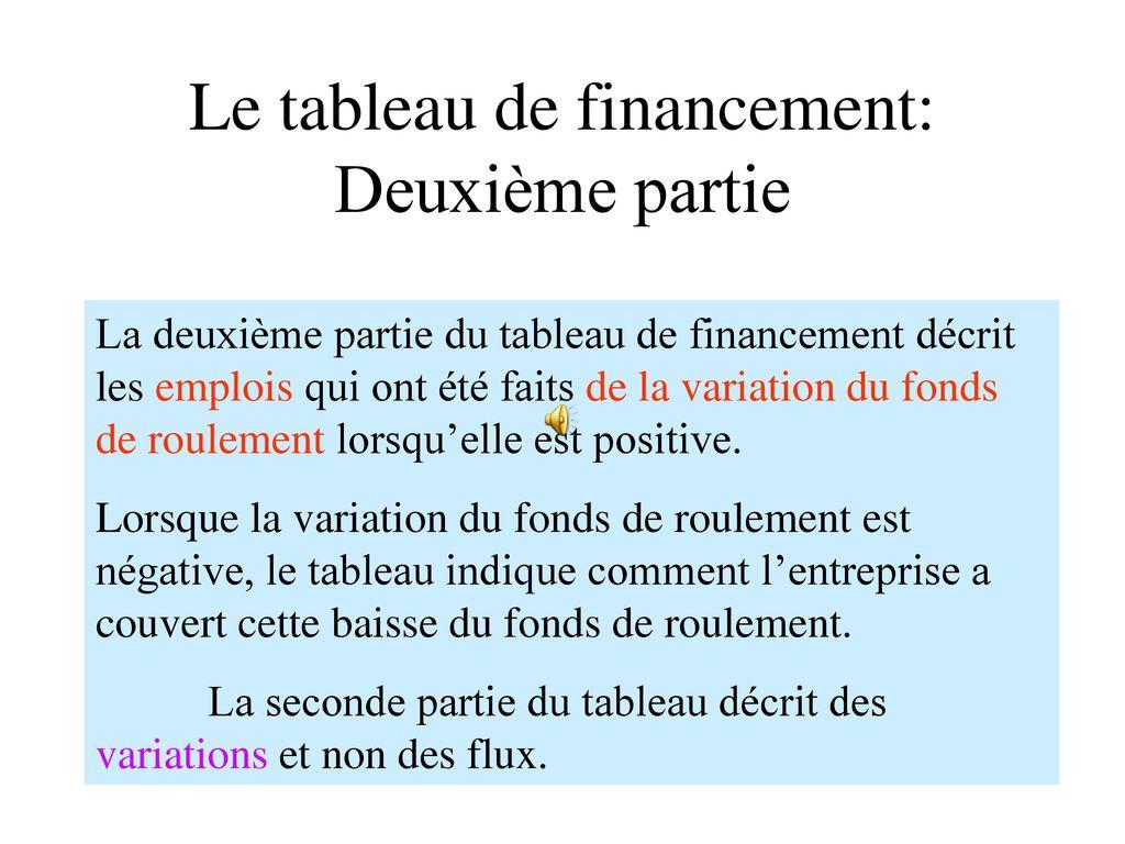Le Tableau De Financement Ppt Telecharger