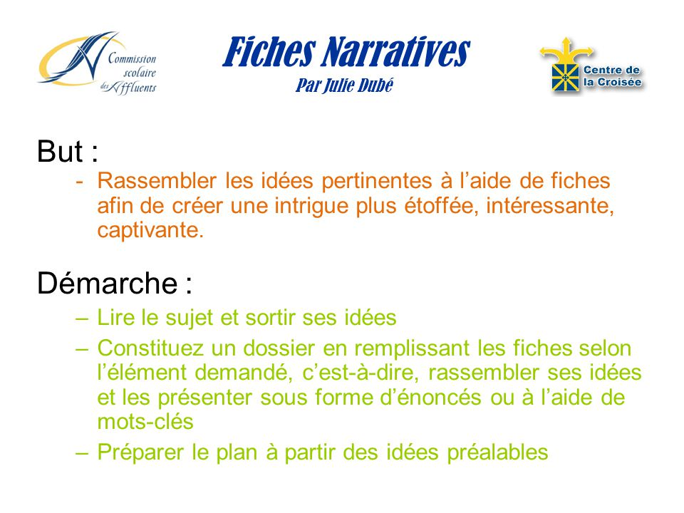 Fiches Narratives Par Julie Dubé