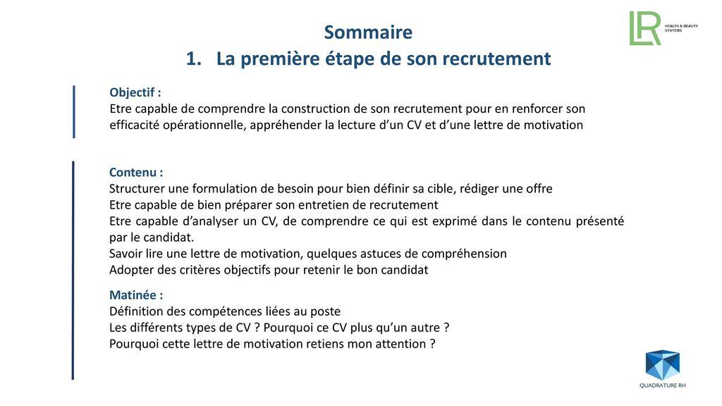 module formation recrutement