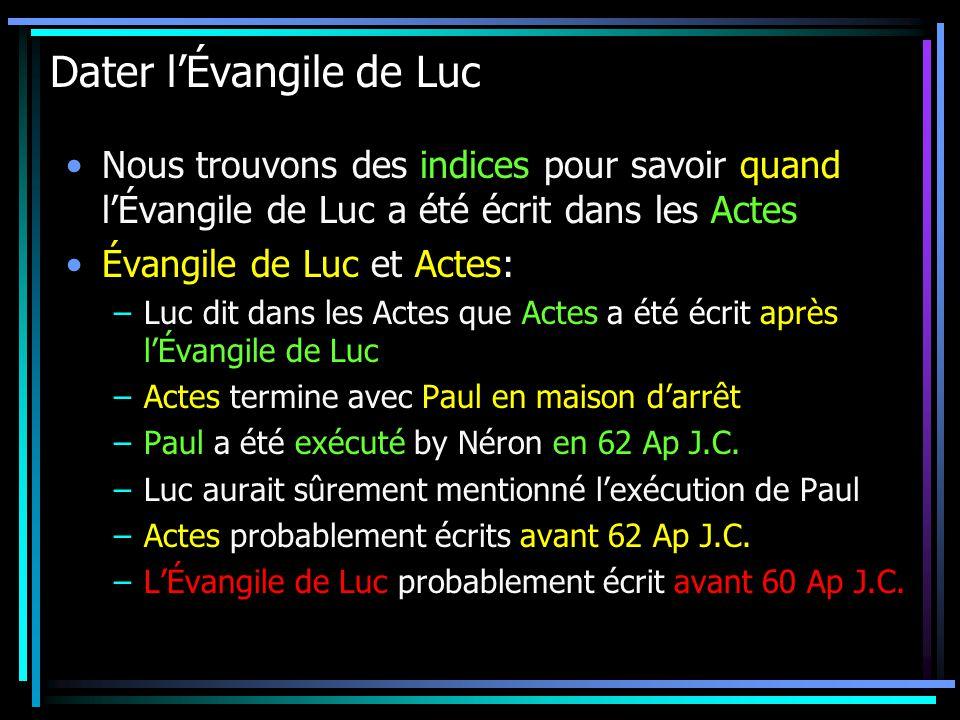 Datant Évangile de Luc