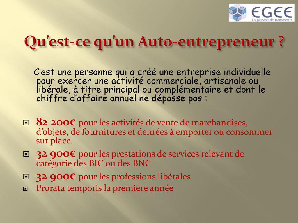 Le Statut D Auto Entrepreneur Ppt Telecharger