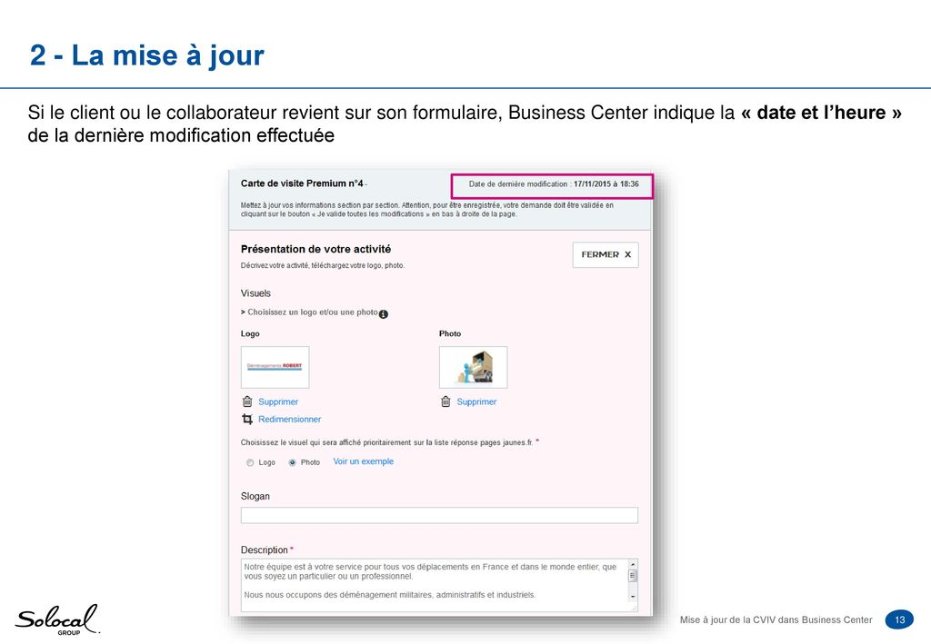 Mise A Jour De La Carte Visite Verticalisee Dans Business Center