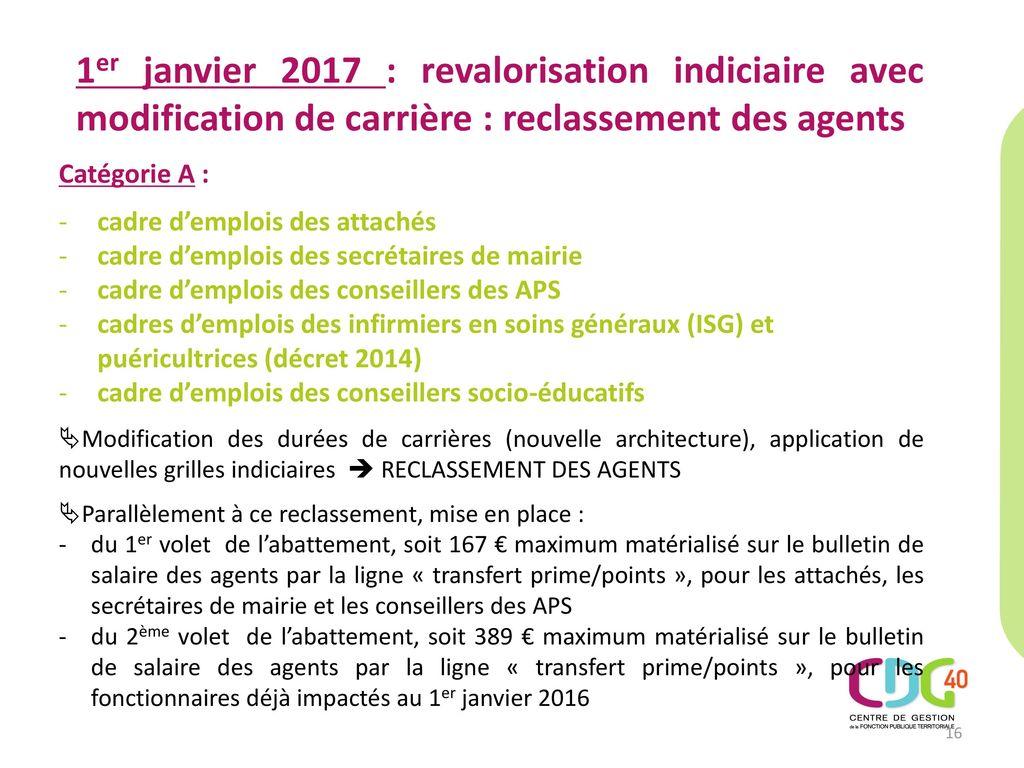 29cd27775c4 1er janvier 2017   revalorisation indiciaire avec modification de carrière    reclassement des agents