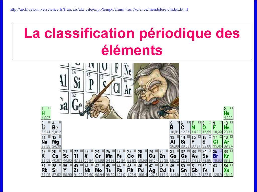 La Classification Periodique Des Elements Ppt Telecharger