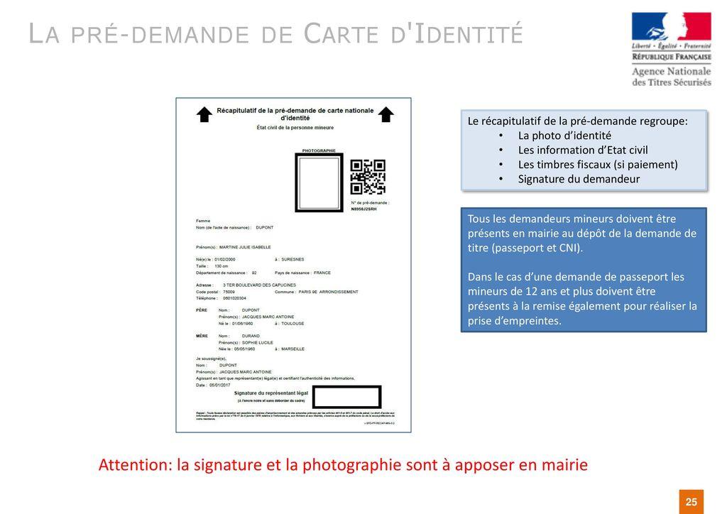 pré demande carte d identité mineur Présentation de la Pré Demande en ligne Passeport/CNI   ppt