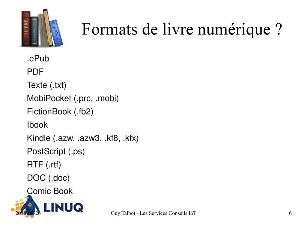 Calibre Introduction - Les services Conseils I6T  - ppt
