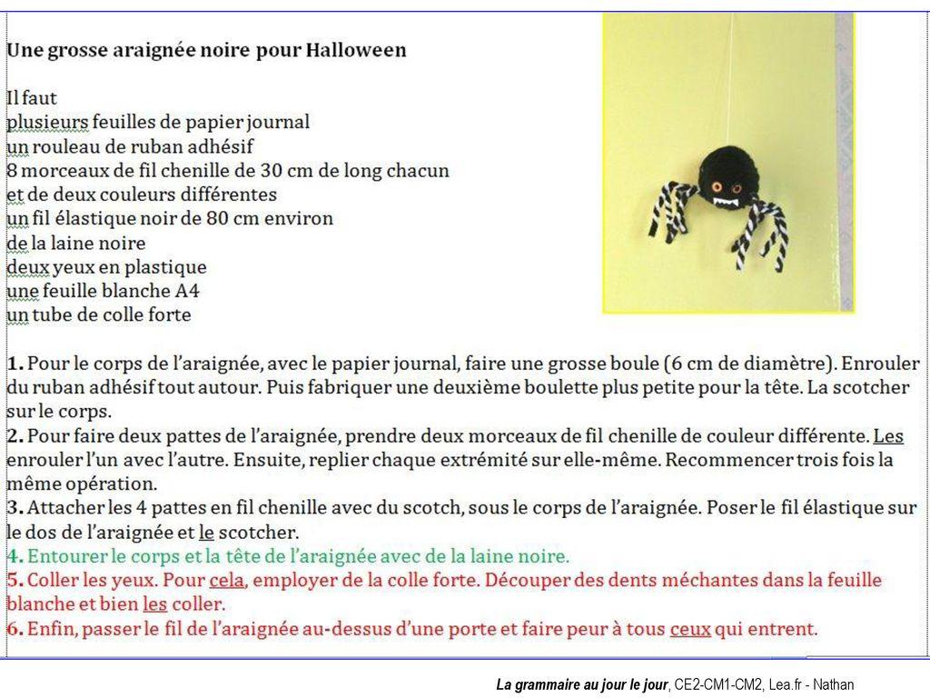 """Résultat de recherche d'images pour """"fiche de fabrication la grammaire au jour le jour une araignée pour Halloween"""""""