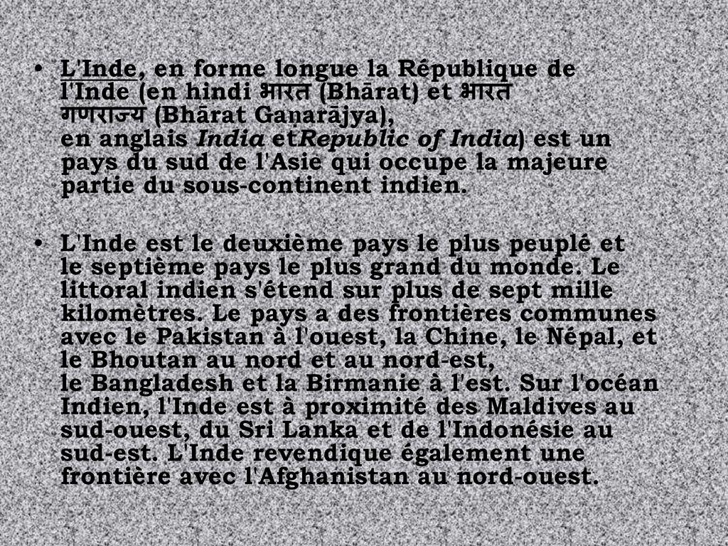 L Inde En Forme Longue La Republique De L Inde En Hindi भ रत