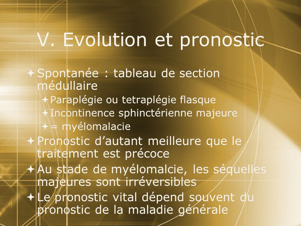 V. Evolution et pronostic