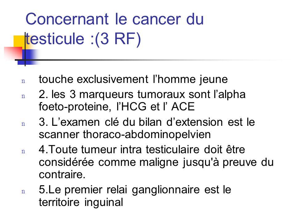 Concernant le cancer du testicule (1 réponse fausse) :