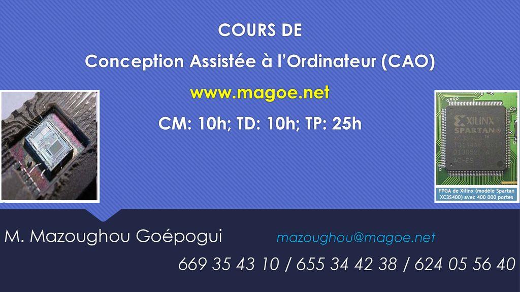 Cours De Conception Assistée à Lordinateur Cao Www Magoe Ppt