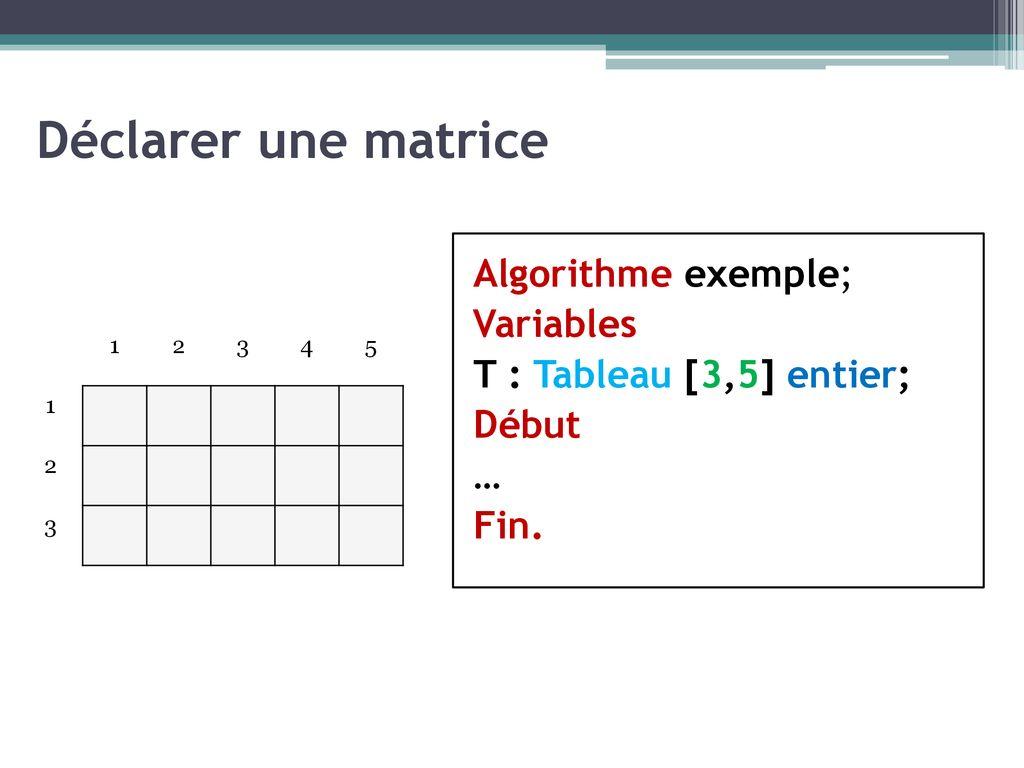 Cours N 10 Algorithmiques Tableaux Matrices Ppt Telecharger