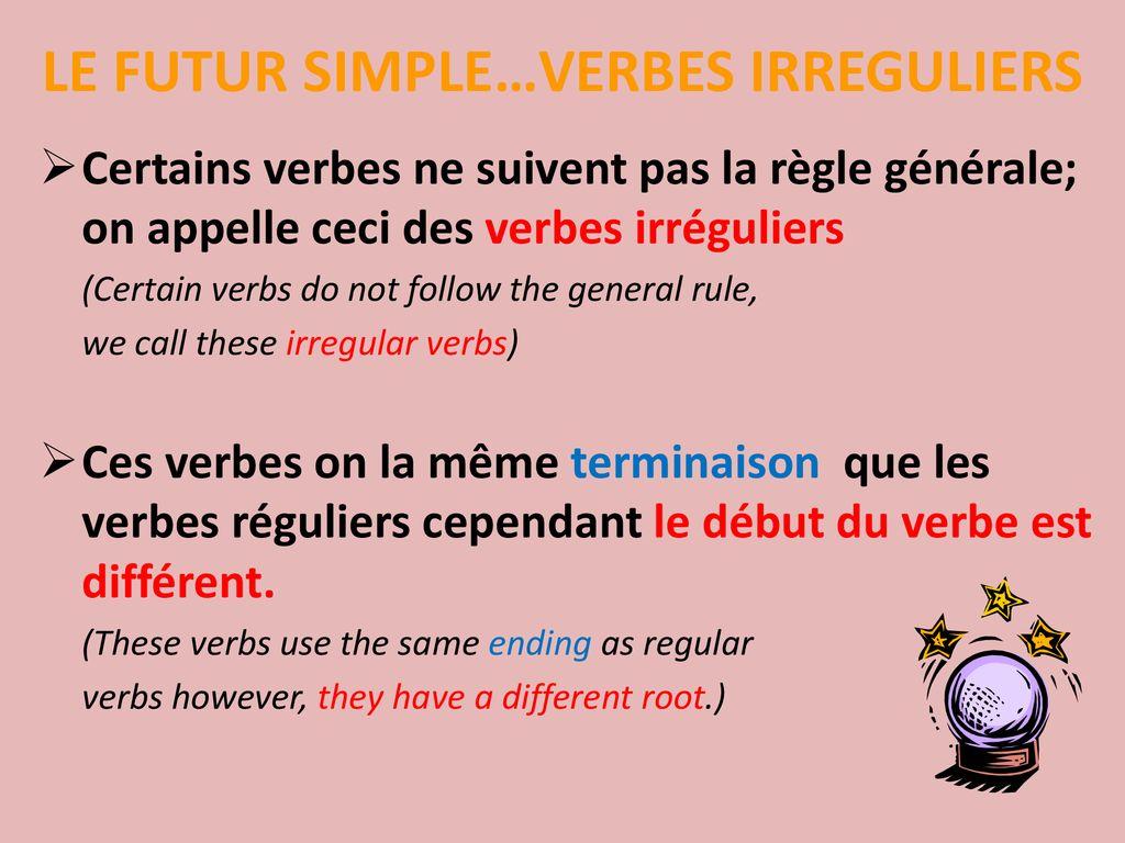 Le Futur Simple Verbes Irreguliers Ppt Telecharger