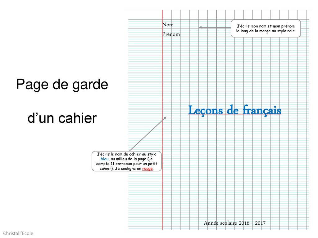 Leçons De Français Page De Garde D Un Cahier Nom Prénom