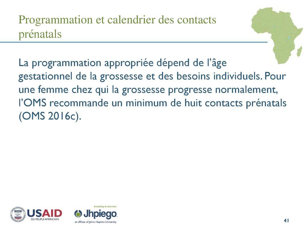 Calendrier Gestationnel.Prevention Et Controle Du Paludisme Pendant La Grossesse