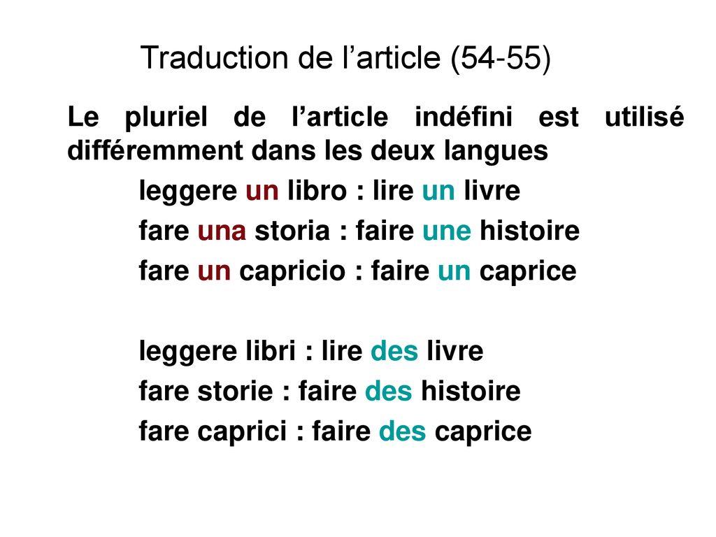 Valeur Du Determinant Comparaison Avec L Italien Et Traduction