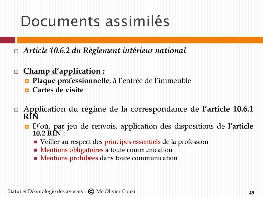 Statut Et Dontologie Des Avocats