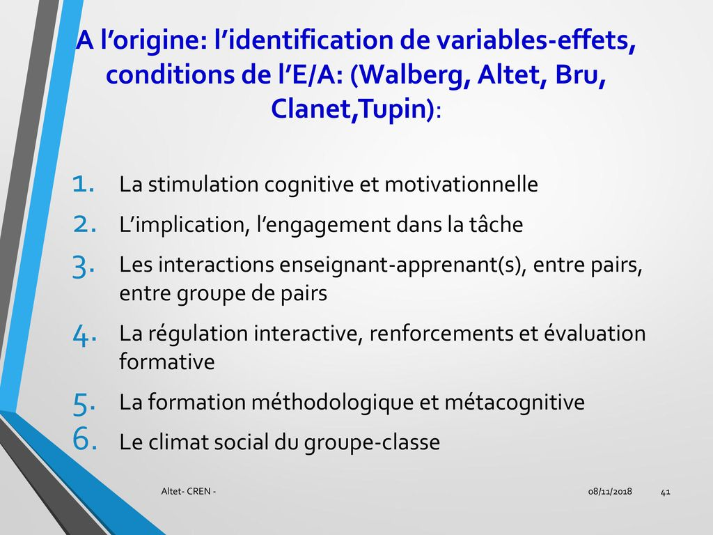 A l'origine: l'identification de variables-effets, conditions de l'E/A: (Walberg, Altet, Bru, Clanet,Tupin):