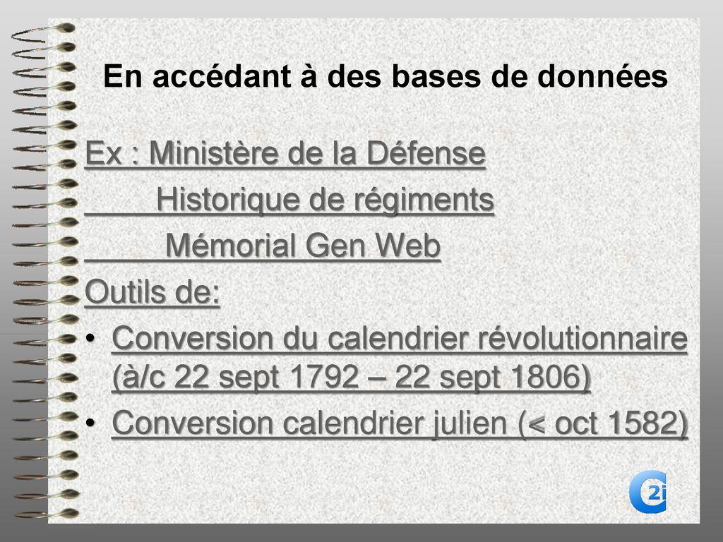 Calendrier Revolutionnaire Conversion.Informatique Et Genealogie Ppt Telecharger