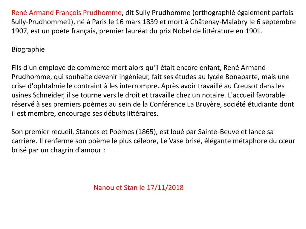Mars René François Sully Prudhomme Nanou Et Stan Ppt