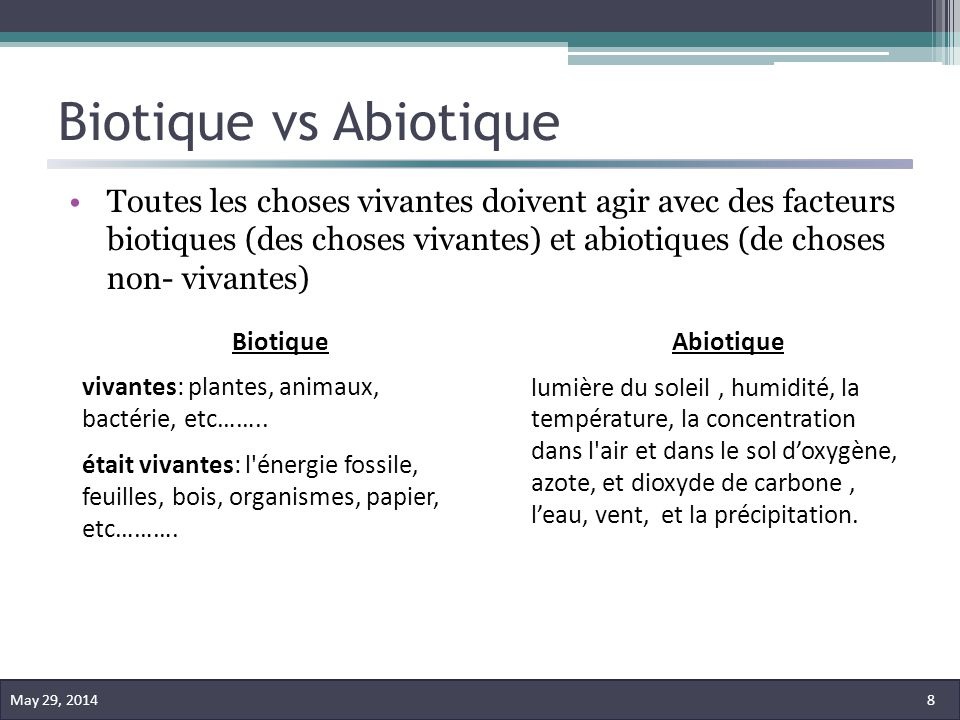 Biotique vs Abiotique