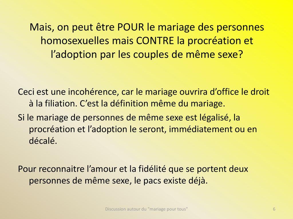 Discussion Autour Du Mariage Pour Tous Realites Enjeux Ppt