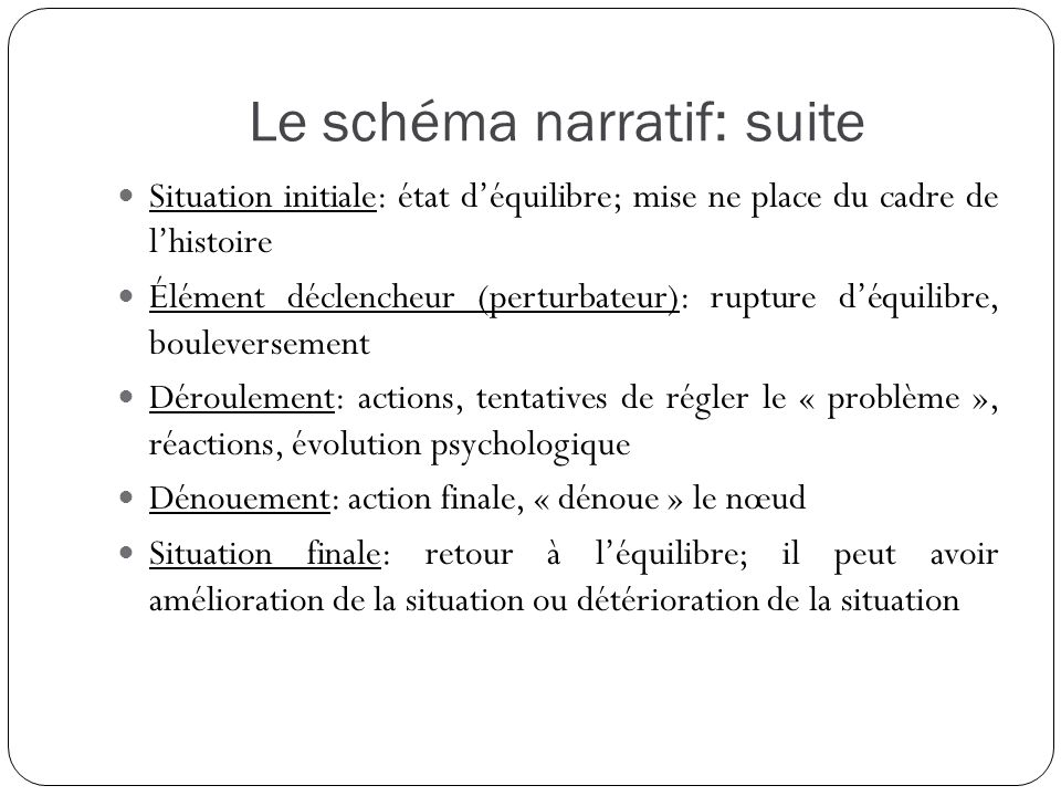 Le schéma narratif: suite