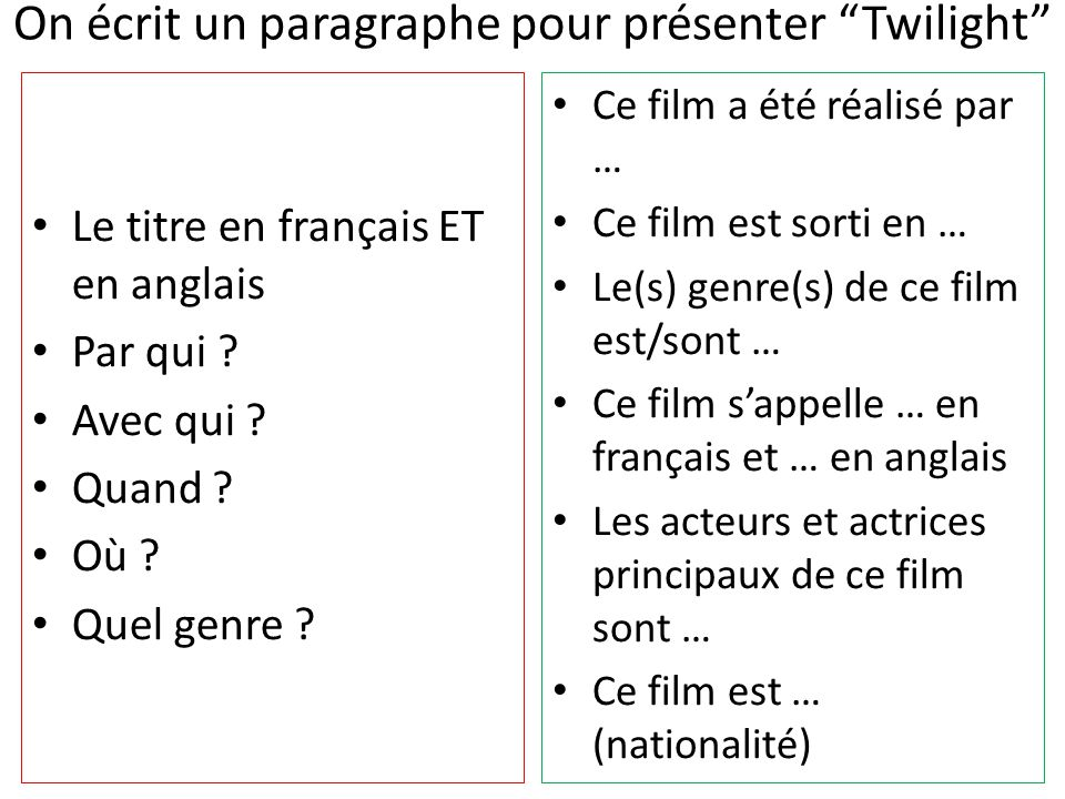presenter un film en anglais