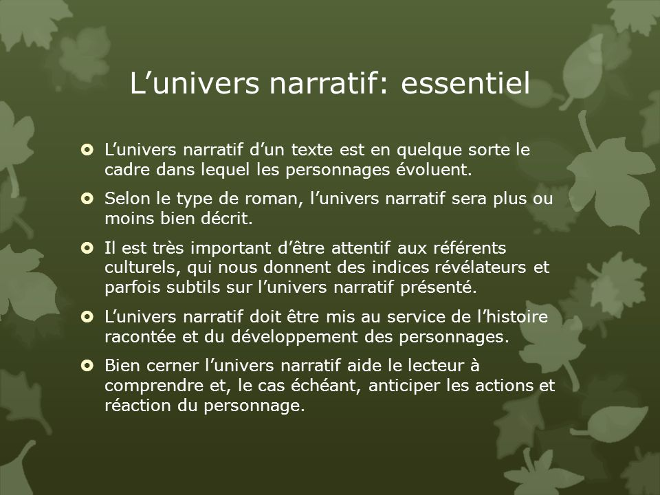L'univers narratif: essentiel