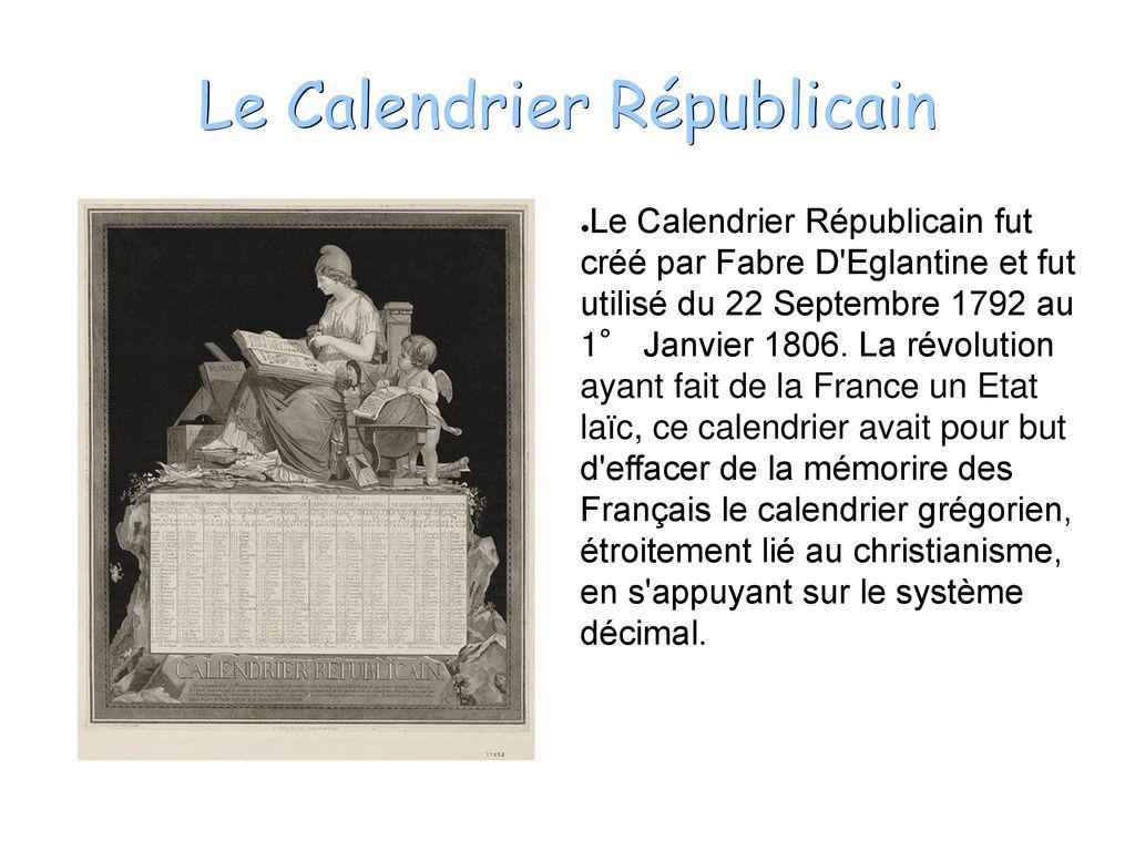 Le Calendrier Revolutionnaire.Le Calendrier Republicain Ppt Telecharger