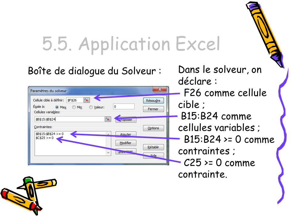 5.5. Application Excel Dans le solveur, on déclare :