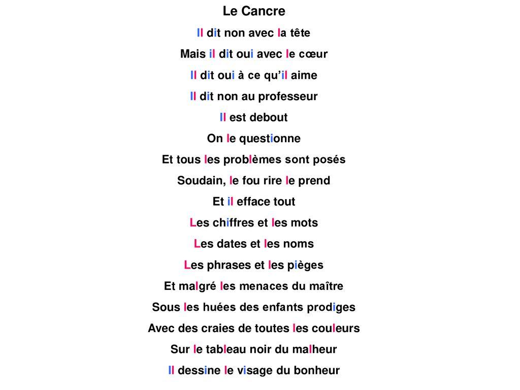 Le Cancre De Jacques Prévert Ppt Télécharger