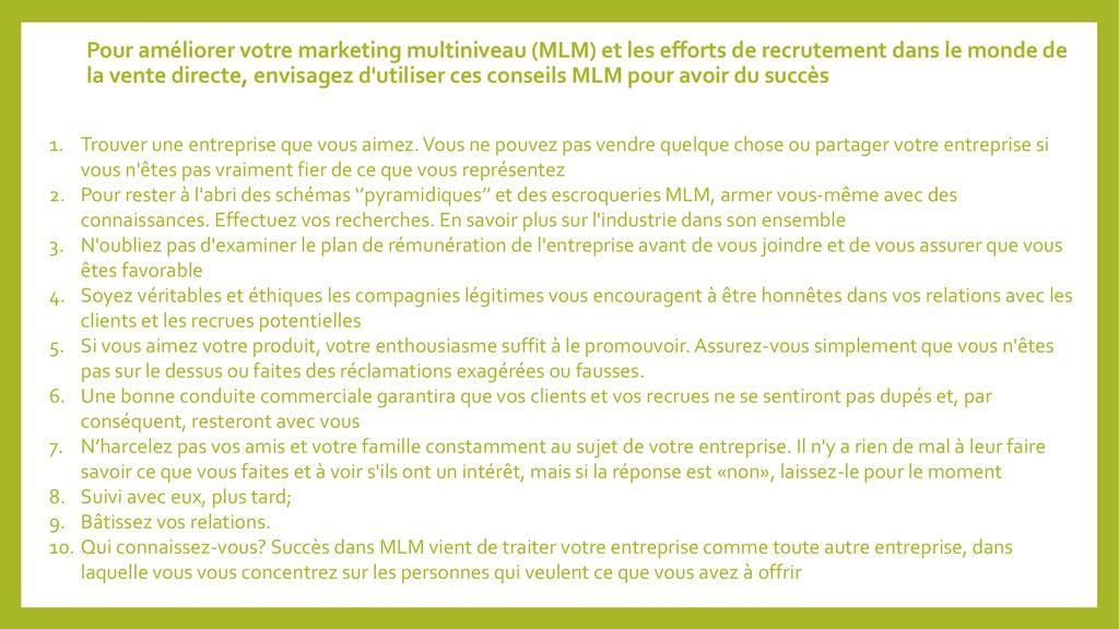 Pour améliorer votre marketing multiniveau (MLM) et les efforts de  recrutement dans le monde 042093e41dc4